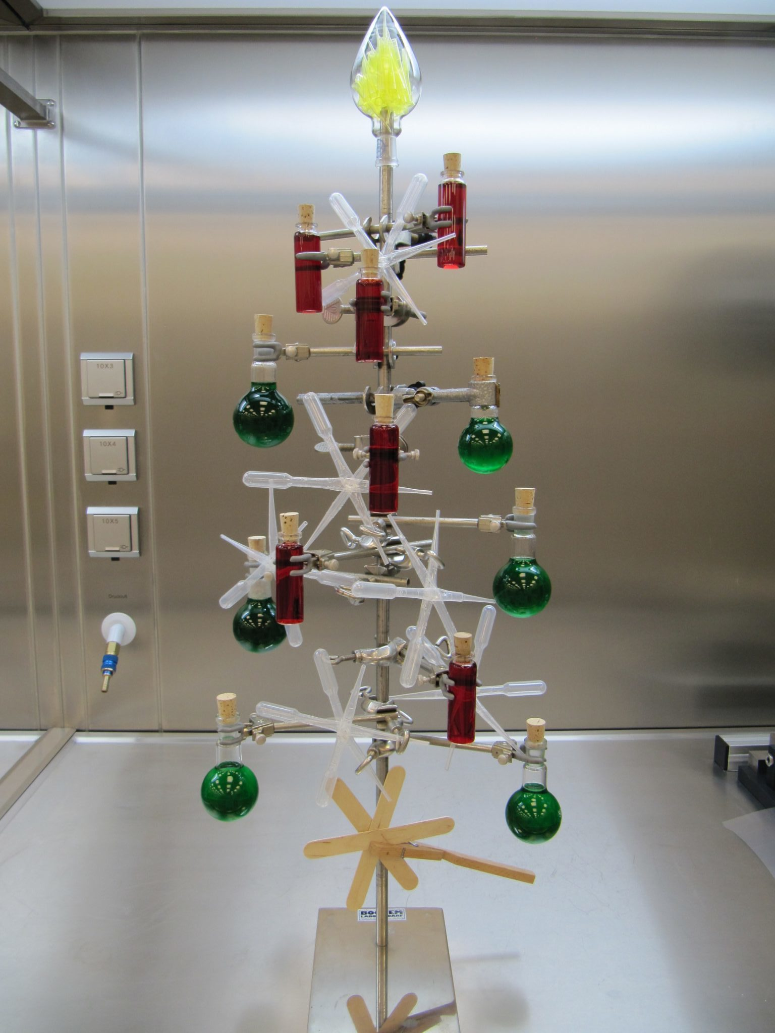 "A Chemistree is a ""Christmas tree made of laboratory things""."
